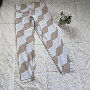 Tan and white aerie Move yoga pants